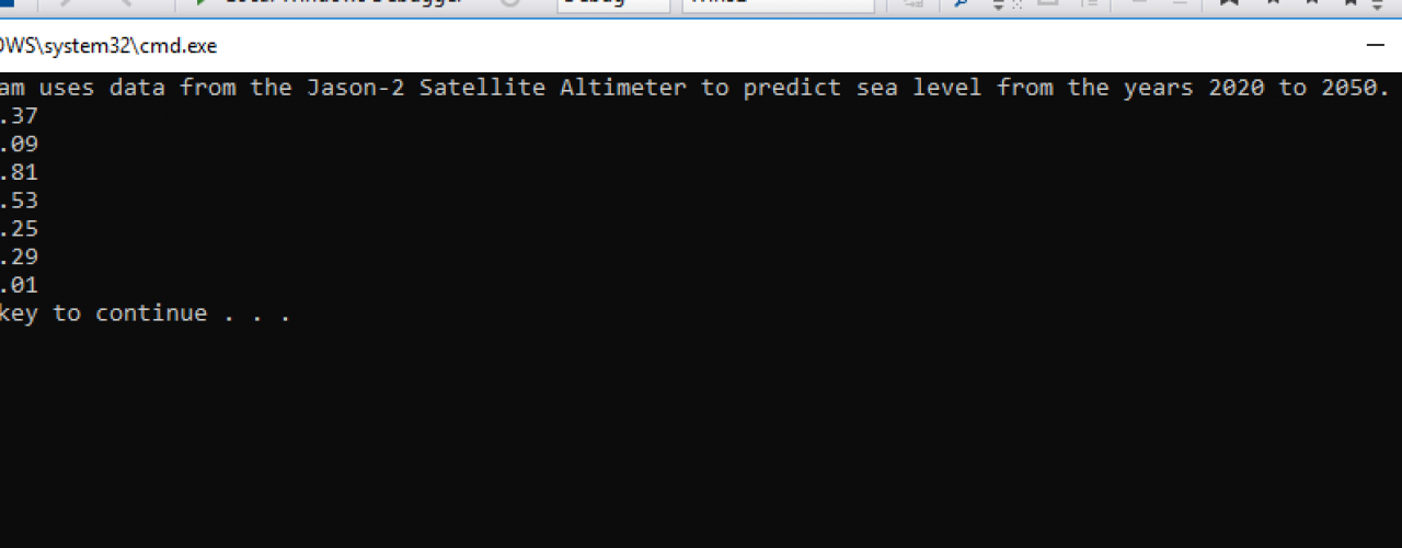Program That Uses Data From The Jason-2 Satellite Altimeter To Predict Sea Level From The Years 2020 To 2050